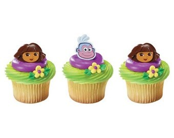24 Dora & Boots Face Cupcake Rings Cake Decor Toppers Birthday Party Supplies