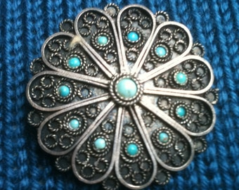 Brooch  Pendant Turquoise and Sterling Silver Round Pin