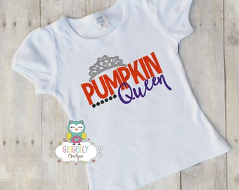 Pumpkin Queen Shirt or Bodysuit, Halloween Clothing, Halloween Shirt, Girl Halloween Shirt, Shirt for Halloween, Pumpkin Patch Shirt