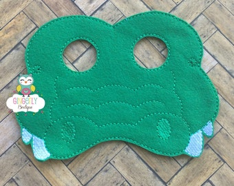 Alligator Mask, Kids Dress Up Mask, Alligator Costume Mask, Wool Blend Mask, Felt Alligator Mask, Jungle Party Favor, Monkey Mask