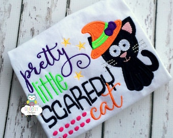 Pretty Little Scaredy Cat Shirt or Bodysuit, Girl Halloween Shirt, Girl Trick or Treat, Girl Halloween Cat Shirt, Halloween Cat Shirt