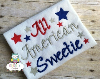 All American Sweetie Patriotic/4th of July Shirt or Bodysuit, Independence Day, Fireworks, Girl 4th of July, 4th of July Parade