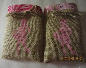 Cowgirl Treat Bags, Burlap Favor Bags, Birthday Party Bag, Goodie Bag, Country Favors, Western Party Favors, Western Party Bags