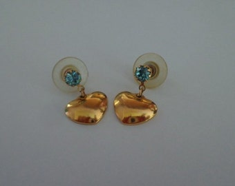 Vintage Blue Aguamarine Stud Earrings,Gold Heart Earrings, Valentines Earrings