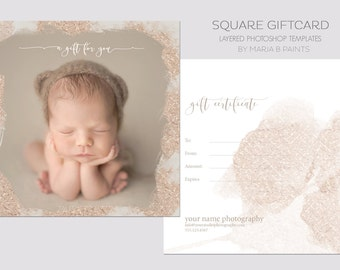 INSTANT DOWNLOAD, Gift Certificate Template, Gold, Gift Card, Layered Photoshop Template, Book Now, Photography Session, Postcard