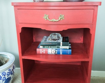Red Painted Nightstand