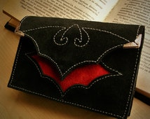 Gothic Red - black leather suede Tarot cards deck case with bat design / Call of blood