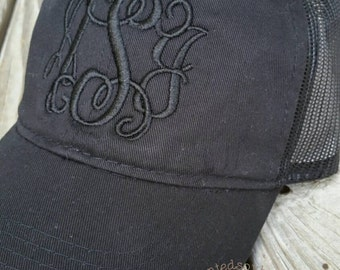 Black/Black Embroidered Trucker Hat, Monogram Trucker Cap. Personalized Ballcap  Baseball & Trucker Caps