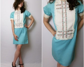 SPRING CLEANING SALE Vtg 60s Baby Blue Babydoll Mini Dress