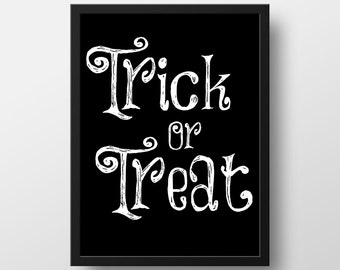 Halloween Print - Trick or Treat Art Print - Halloween Decor - Fall Decor - Art Prints - Halloween Printables - Instant Download - 8x10