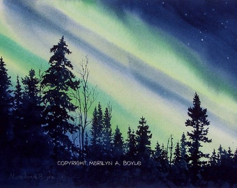 PRINT of NORTHERN LIGHTS; 7.25 X 10 inches, Canadian landscape, wilderness, aurora borealis, sky, watercolor, silhouette of trees, wall art