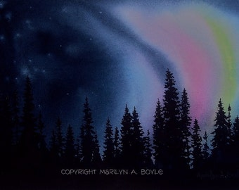 NORTHERN LIGHTS PRINT; aurora borealis, 7 x 10 inches, Canadian wilderness, landscape, trees and sky,