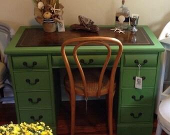 Vintage Kneehole Leather Topped Desk Green Farmhouse