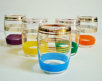 Set of 5 vintage painted drinking glasses