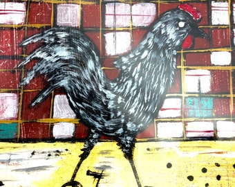 Retro Cottage Garden Original chicken Coop Painting