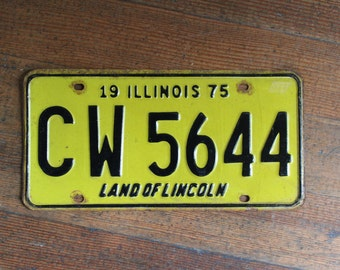 Vintage License Plate - Yellow and Black Illinois 1975 - Land of Lincoln
