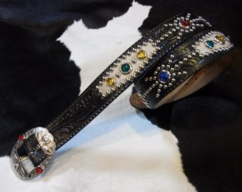 No.430H Handmade Vintage Reproduction Studded Jeweled Cowboy Western Belt