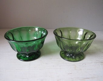 Two Vintage Anchor Hocking Green Glass Pedestal dishes, Campote Bowl, Candy Dish