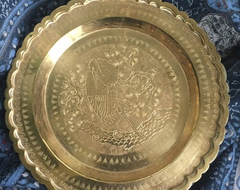 Vintage brass tray with scalloped edge