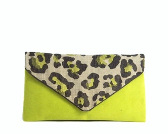Neon  Green Suede Twill Cheetah Print Envelope Clutch
