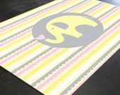 Nursery Rug, Elephant Rug, Nursery Elephant, Yellow Gray Nursery, Pink Gray Nursery, Yellow Elephant, Colorful Rug, Playroom Rug, Animal Rug