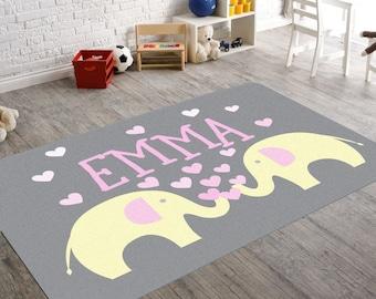 Good Elephant Rug, Nursery Rug, Elephant Nursery Decor, Personalized Rug, Baby Girl  Nursery