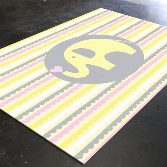 Nursery Rug Elephant Rug Nursery Elephant Yellow By