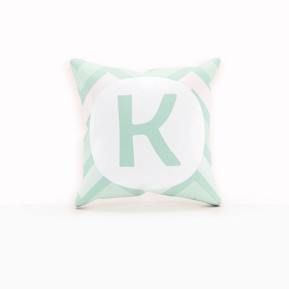 Modern Initial Pillow : Mint Pillow Monogram Decorative Pillow Throw Pillows Modern