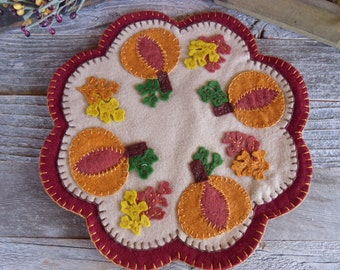 Wool Felt Penny Candle Mat Pumpkins and Leaves, Fall, FREE SHIPPING!