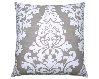 Cushion cover BERLIN sand white linen look Baroque ornament 50 x 50 cm