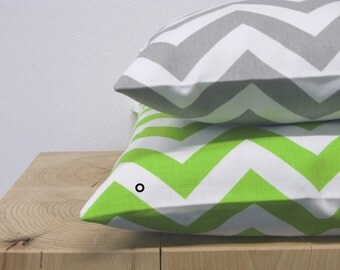 1 pillowcase zigzag CHEVRON 40 x 40 cm green white
