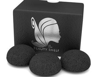 Konjac Sponge (3 Pack) Activated Bamboo Charcoal- Facial Cleansing & Exfoliating Beauty Sponges by The Beauty Shelf ™
