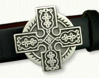 Celtic Elsinore Cross Belt Buckle ( 2 1/8 x 2 1/8 inches)