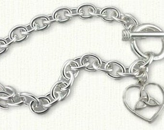 """Celtic Toggle Bracelet with Trinity/Heart Charm Length : 7 1/4"""" - Sterling Silver"""