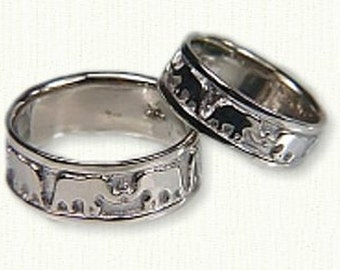Custom Elephant Wedding Band -7 mm - Available In All Colors Including Sterling Silver