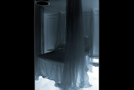 Items similar to black bed canopy black sheer curtain - Black canopy bed curtains ...