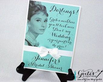 Audrey Hepburn necklace game sign, table decorations, party signs, bridal shower pearl necklace game.