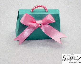 Mini paper purse favor box, paper purse, party purse favors boxes, pink & turquoise blue paper purse with pearls. Other Colors Available!