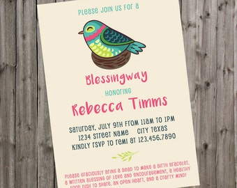 Blessingway Invitation Bird in Nest Modern Mother Blessing Invite Blessing Way Baby Shower Alternative Homebirth Natural Birth Printable PDF