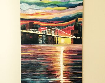 "New York Sunrise-24""x 36"" Acrylic Painting"