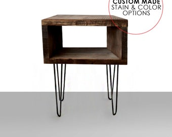 Mid Century Modern End Table -Hairpin Legs CUSTOM OPTIONS 2 Rod Hairpin Legs or 3 Rod Hairpin Legs