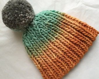 Hat // Pom-Pom // Ombre // OOAK // pompom hat // handknit // gradient // orange // green