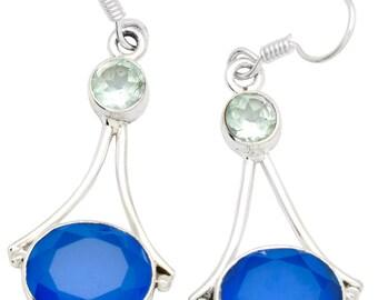 Blue Chalcedony Blue Topaz Earrings Solid 925 Sterling Silver Jewelry EBER688