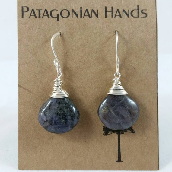 Handmade  Fine Silver (.999) and Sterling silver  earrings with Iolite gemstone. Free shipping in the US