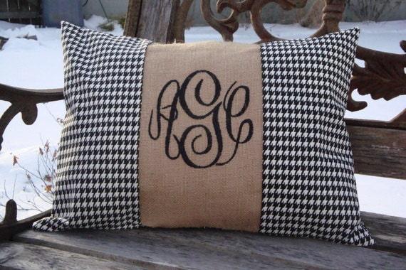 Monogram Pillow. Houndstooth Pillow. Burlap Pillow. Black White Pillow. Pillow Cover. Lumbar Pillow