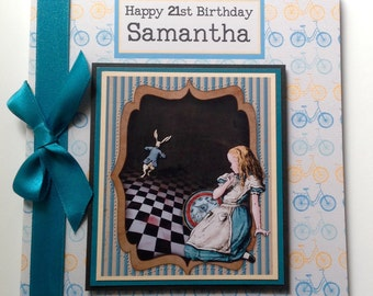Personalised Alice in Wonderland Birthday Card Daughter, Sister, Friend, Mum, Grandaughter  13th 16th 18th 21st 30th 40th 50