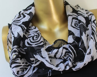 Black and white chiffon infinity scarf - infinity chiffon scarf - black infinity scarf - unique scarf - gift scarf - gift for women handmade