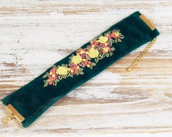 embroidered bracelet, Bracelet, cuff, textile bracelet, Fabric Bracelets,