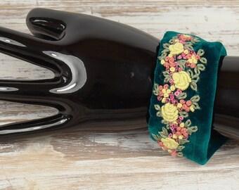 Textile art floral embroidered bracelet, Velvet bracelet with gift for women, fabric bracelet, cuff, embroidery, embroidered bracelet