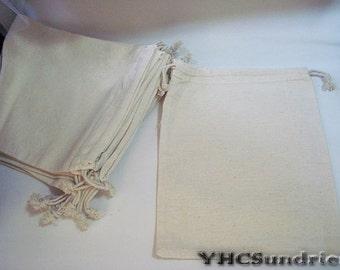 "10pcs - Plain Muslin cotton bag with drawstring - 8""(W) x 9.6""(L) *CB004*"
